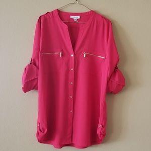 Calvin Klein Red Long-sleeve Button Down Blouse XL
